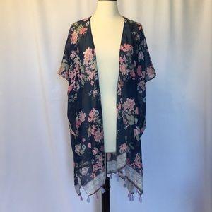 Young USA Floral Print Blue Kimono